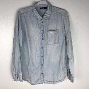 APT 9 Chambray Shirt with Beaded Collar